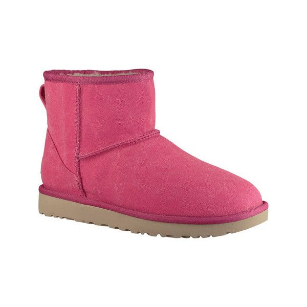 Women's UGG Classic Mini II Canvas ($140) ❤ liked on Polyvore featuring shoes, boots, ankle booties, ugg® bootie, pink flats, neon flats, canvas ankle boots and neon pink flats