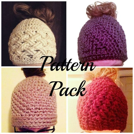 Bun Hat Crochet Pattern Pack by EastCoastFibres on Etsy only $5.50USD for 4 patterns!