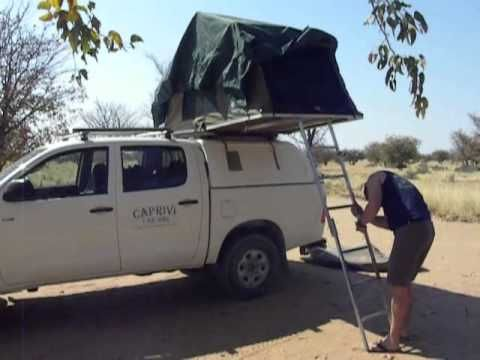 Toyota Hilux Double Cab with one tent setup Caprivi Car Hire Windhoek Namibia
