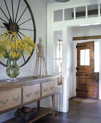Dutch Door: Nature Wood, Transom Windows, The Doors, Wagon Wheels, Decor Ideas, Farmhouse Door, Dutch Doors, Spinning Wheels, Front Doors