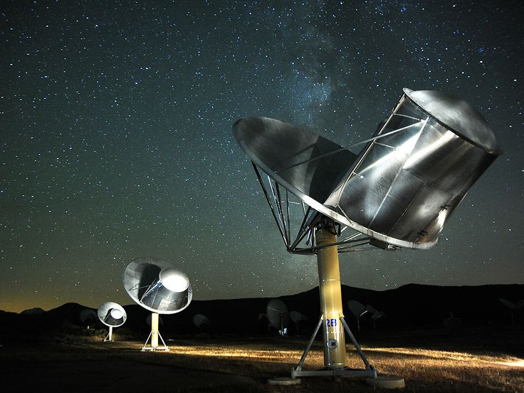 This photo of the Allen Telescope Array was taken by SETI astronomer Seth Shostak. The SETI (Search for Extraterrestrial Intelligence) Institute uses this array of radio dishes in Northern California to search for signals from a civilization beyond the solar system.