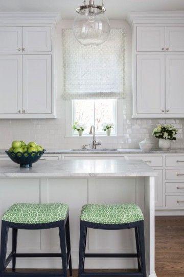 White kitchen design with pop of green bar stools | Marika Meyers Interiors