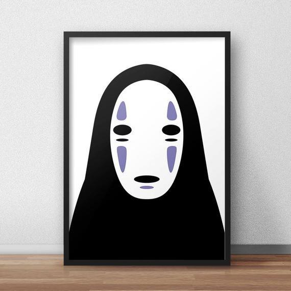 No Face Spirited Away Poster Kaonashi Print Faceless Mask Etsy Spirited Away Poster Spirited Away Art Art