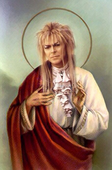 Saint Jareth David Bowie Prayer Candle | via greasercreatures on etsy