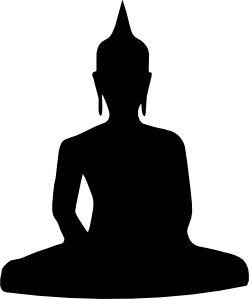 Silhouette Of Buddha Sitting clip art