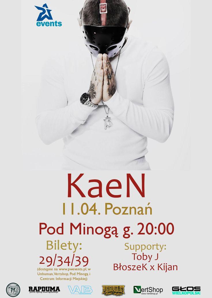 """Agencja P.W. Events zaprasza serdecznie wszystkich fanów KaeNa na jego poznański koncert, który będzie promował najnowszy album artysty pt. """"Tylko śmierć może mnie zatrzymać""""! Raper pojawi się w poznańskim klubie Pod Minogą już 11 kwietnia."""