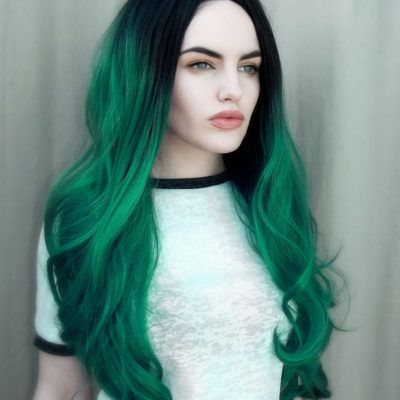 Forest Ombre - Lush Wigs - Green Black ombre Dip Dye Roots Lace Front Wig Drag Lush Wigs