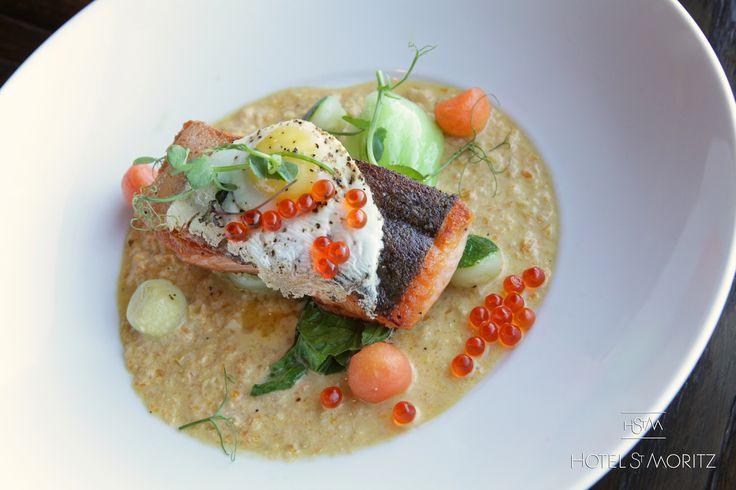 Akaroa Salmon Fillet with smoked fish chowder, vegetable parisienne, bok choy & fried quail egg | Hotel St Moritz Queenstown |