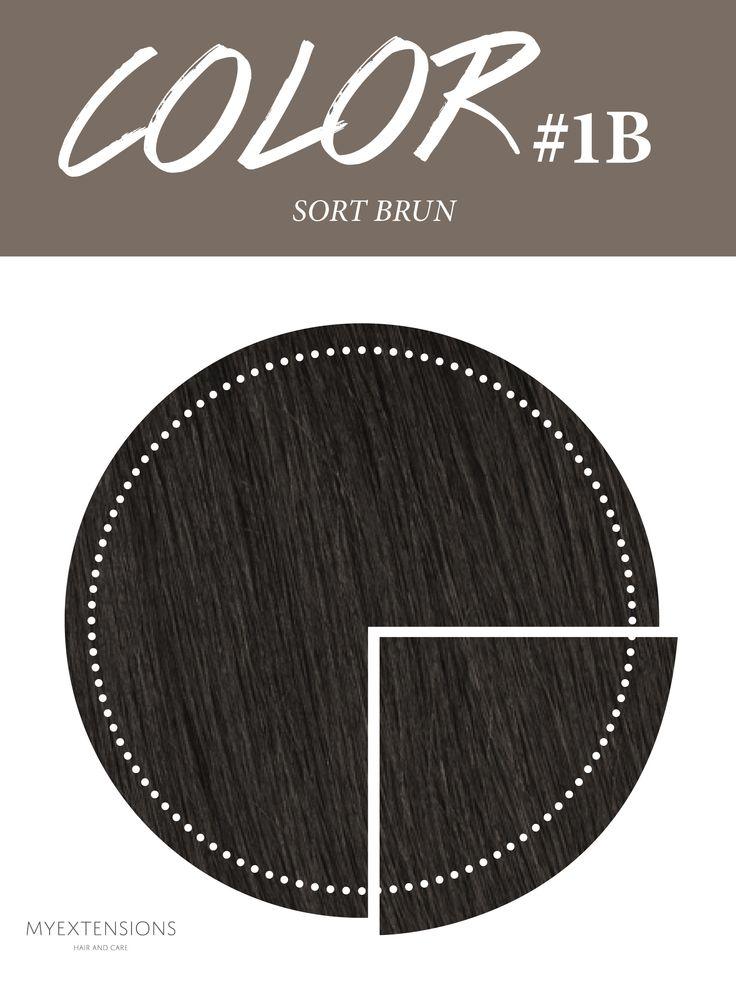 Hair extensions i farve #1B Sort Brun - farven er ikke helt sort, men har en snert af den brune i sig. Til dem der ikke har kulsort hår. Find farven på www.myextensions.dk
