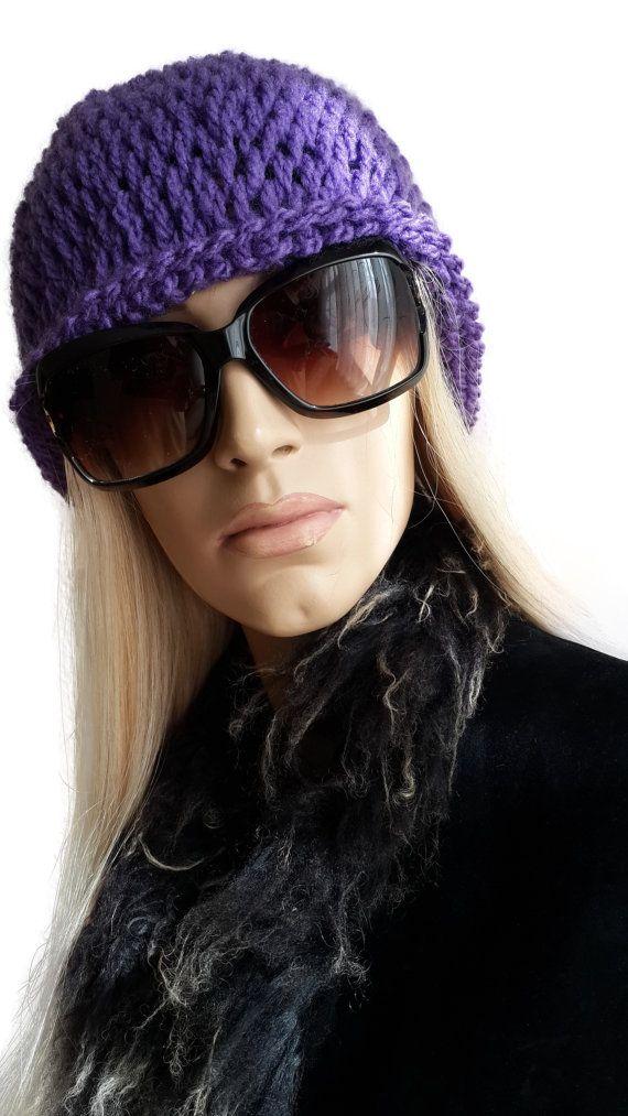 Hand Crochet Purple Reversible Beret / Violet Hat by SimArtShop