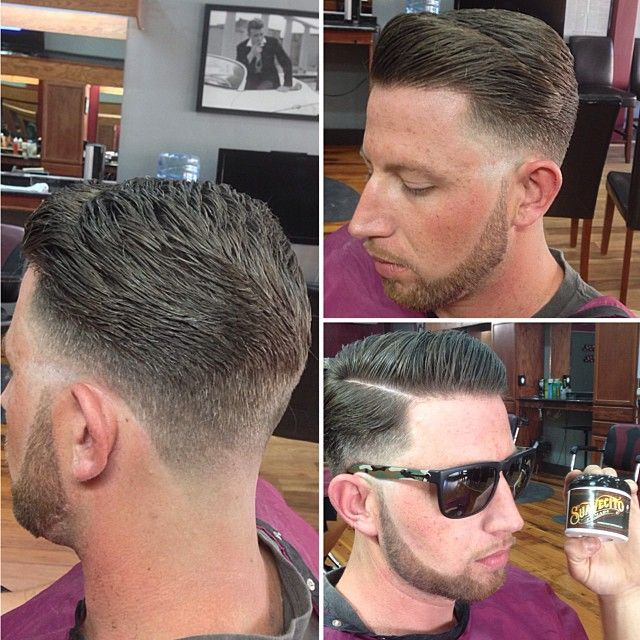 pomade hair style groom room gentlemens haircut with a slick pompadour done 8976