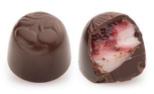 Конфеты ручной работы Frade ВИШНЕВЫЙ ЗАКАТ Как закатное солнце, исчезает темный шоколад с сочным вишневым джемом.