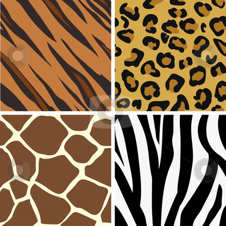 animal print patterns of tiger, leopard, giraffe and zebra.