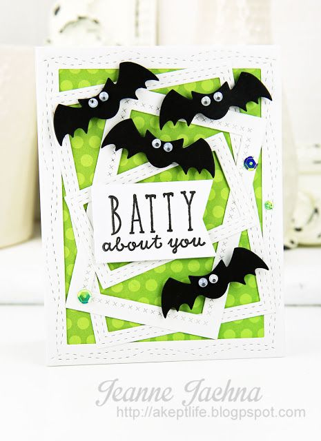 Card by Jeanne Jachna. Reverse Confetti stamp set: Treat Yo' Self. Confetti Cuts: All Framed Up and Halloween Bits. RC 6x6 paper pad: Fright Night. Halloween card.
