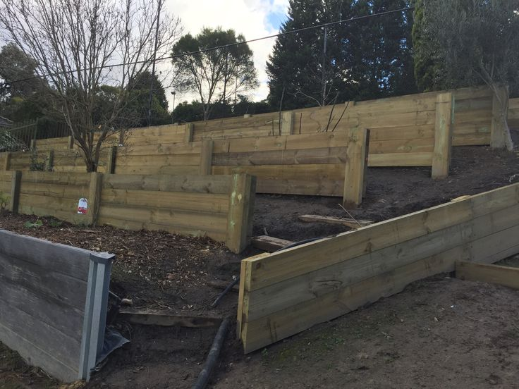 Tiered retaining walls makes good use of this embankment .  Planted with fruit and nut trees it's now our orchard