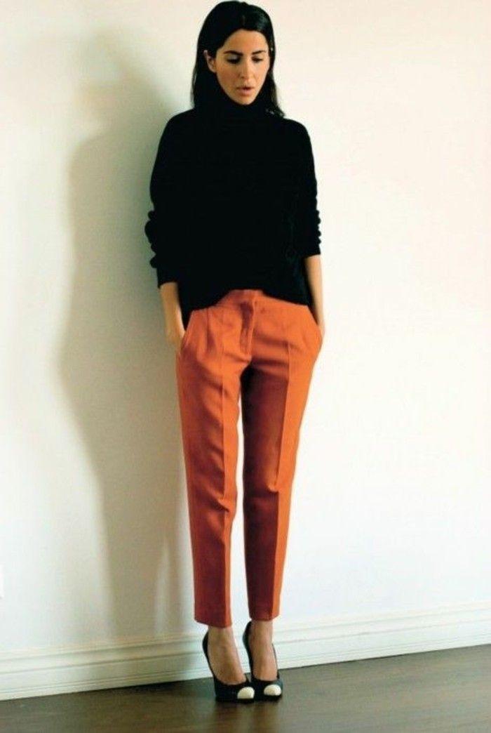 pantalon carrote pince femme de couleur orange