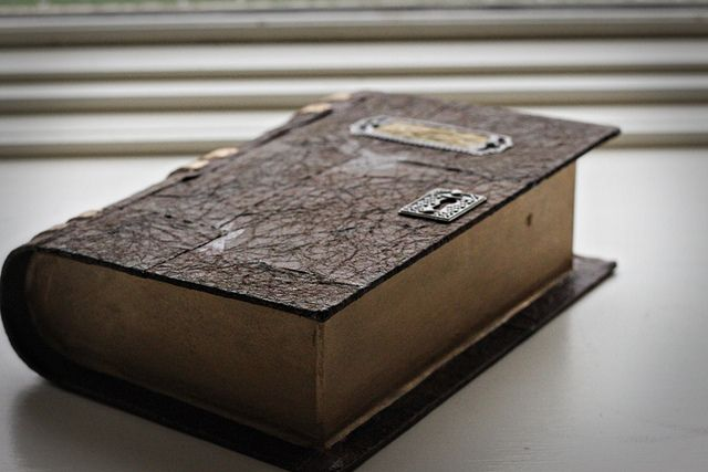 make an antique-looking leather bound book