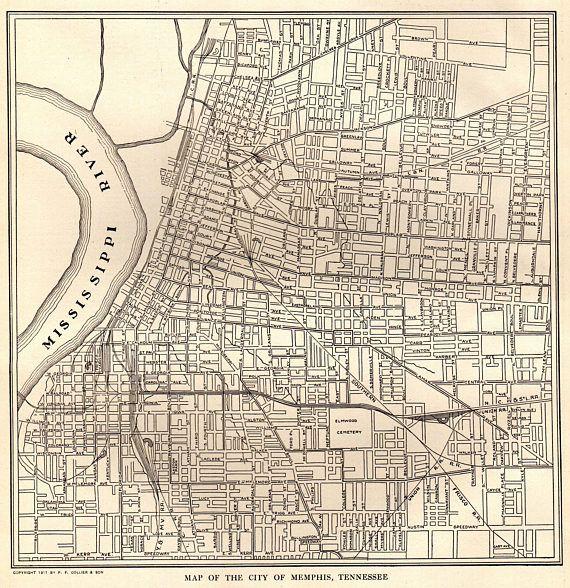 1914 Antique MEMPHIS Map of Memphis Tennessee  Print Vintage