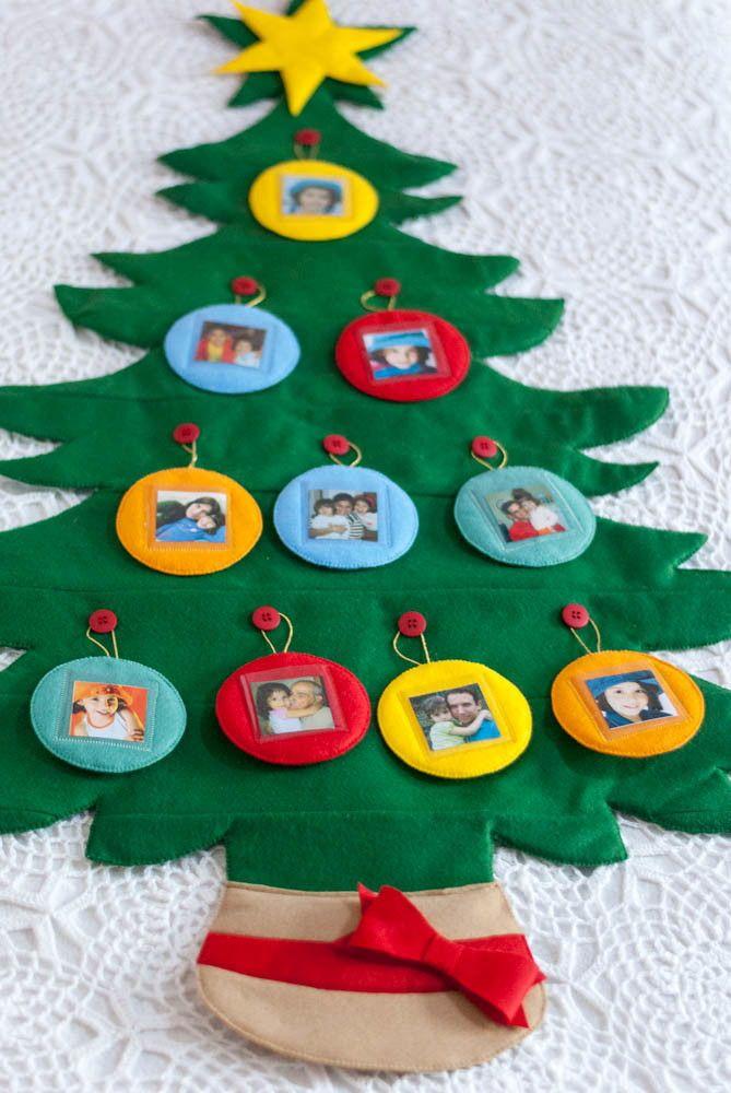 Arvore De Natal Em Feltro Liso Com 98cm De Altura 10 Pingentes