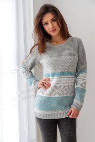 Szary sweter w norweskie wzory