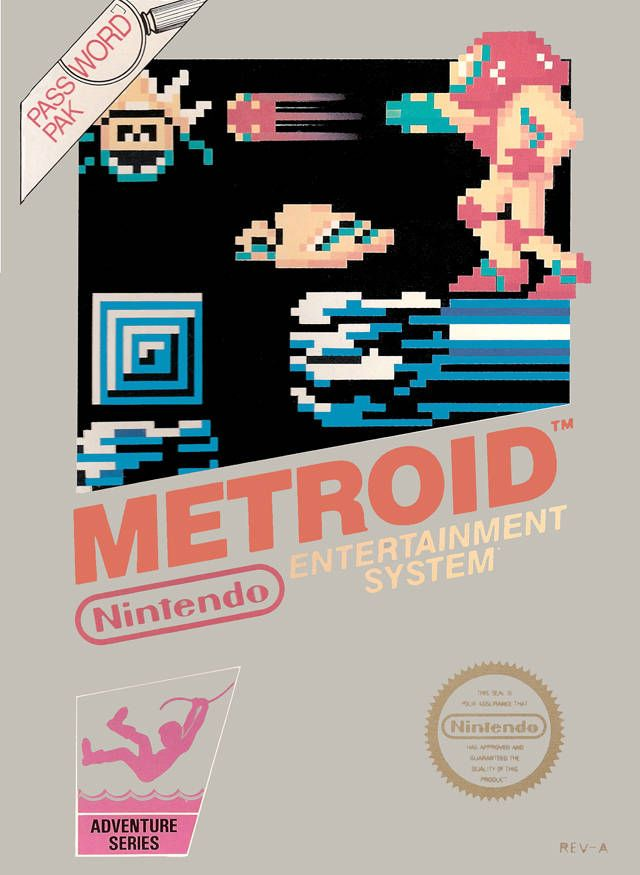 Metroid NES game box (front only)