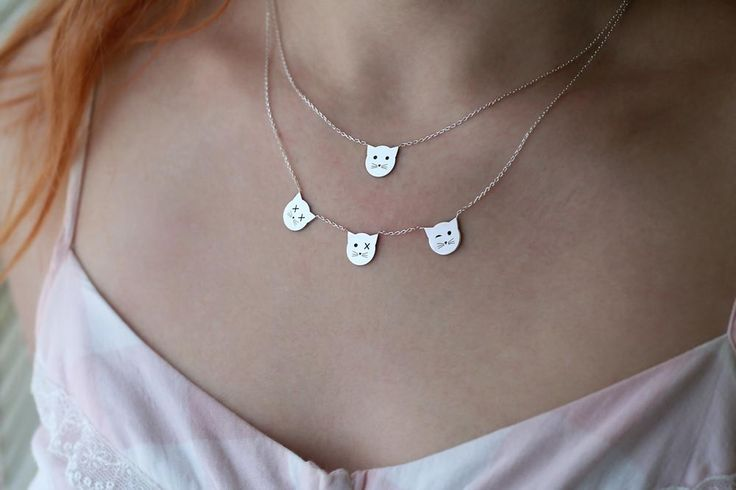 Cute kitties , personalized cat necklace made by hudoca