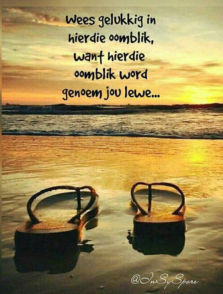 Wees gelukkig in hierdie oomblik..dis jou lewe. #Afrikaans #Happiness