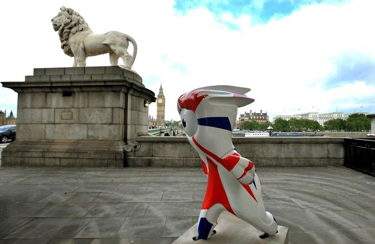 A sculpture of Mandeville, the London 2012  Paralympic mascot, is seen on the south side of Westminster Bridge in London. 83 sculptures of Wenlock and Mandeville have been placed at some of London's most popular tourist locations.