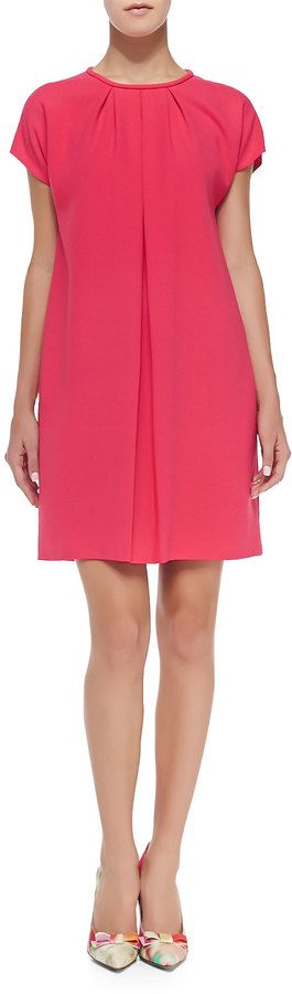$89, Hot Pink Swing Dress: Kate Spade New York Crepe Cap Sleeve Pleated Front Dress Aladdin Pink. Sold by Neiman Marcus.