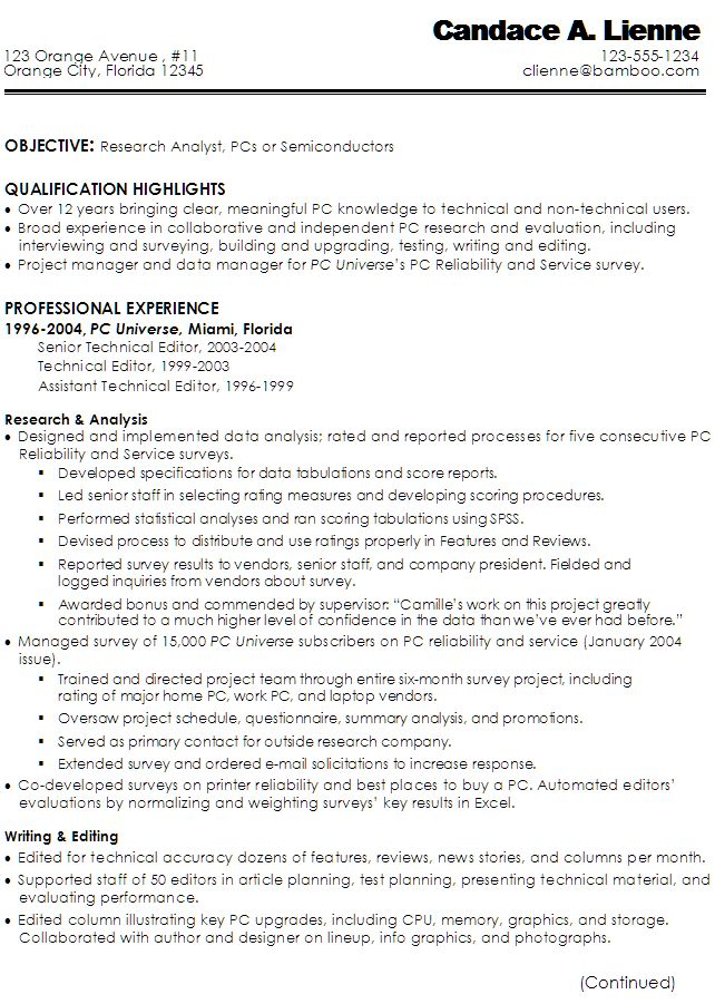Sample Resume for a Technical Writer or Research Analyst