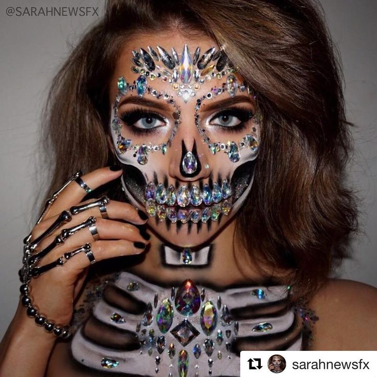 Instagram: @sarahnewsfx ・・・ Diamond Skull All jewels and glitter from @thegypsyshrine…""