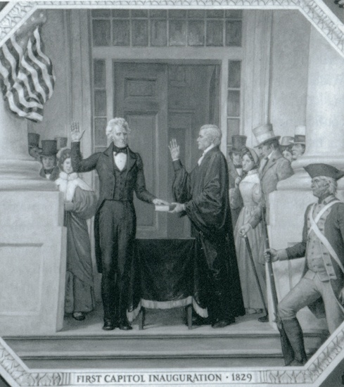 In 1829, Andrew Jackson became the first president to be inaugurated on the East steps of the Capitol building, depicted here in an Ally Cox mural.