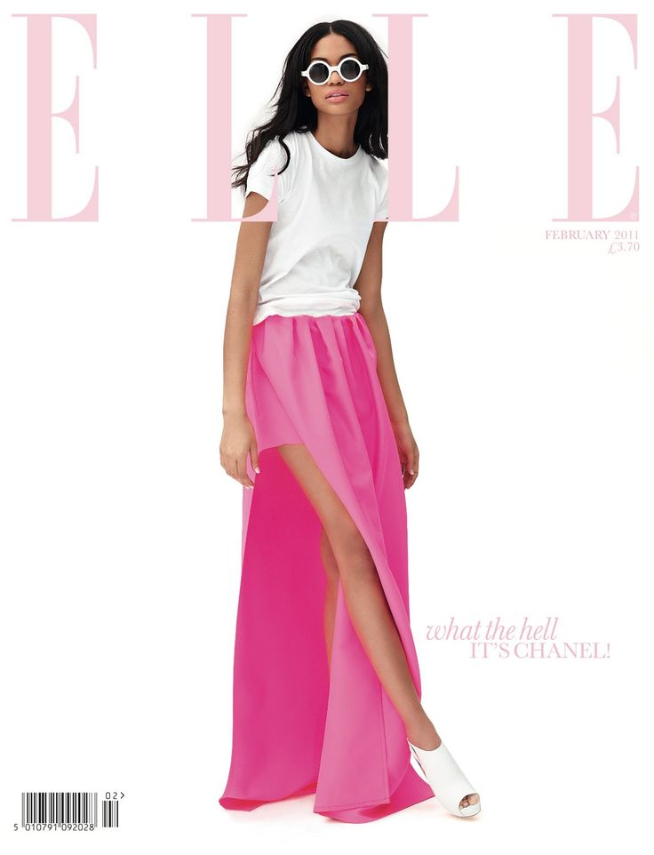 ELLEChaneliman, Beach Outfit, Make Magazines, Long Skirts, Jil Sander, Chanel Iman, Pink Fashion, Magazines Covers, Maxis Skirts