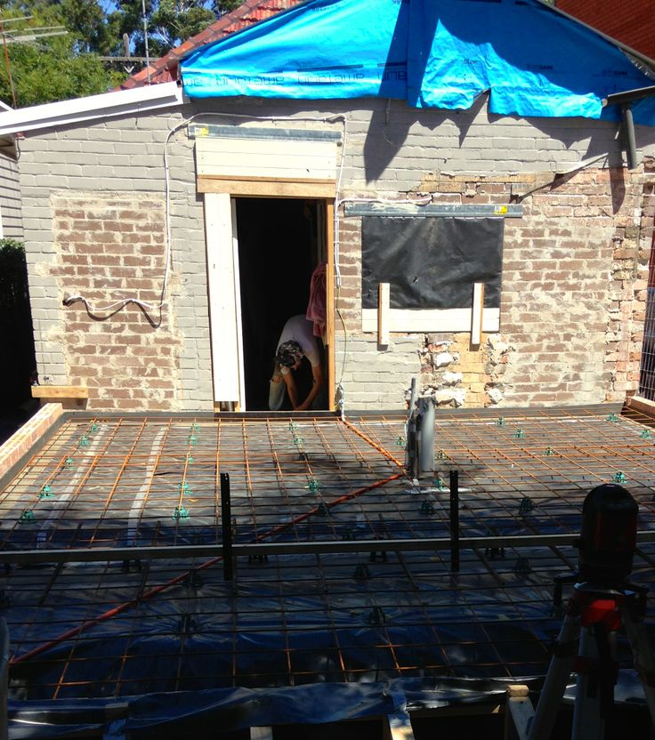 Base brickwork completed, compaction of fill completed, sand and poly placed and reinforcement placed and formwork to the edge beam set.