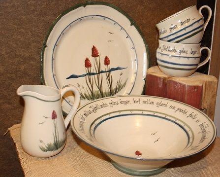 Stengods..Brunkulla , Jämtlands landskapsblomma Keramik