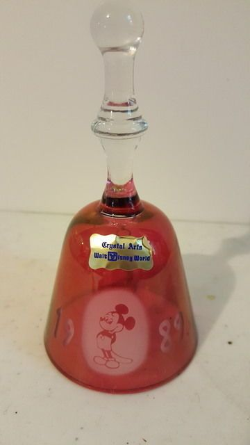 WALT DISNEYWORLD Mickey Mouse Red Crystel Bell 1989 w/ Sticker Exclusive Bell  #Disney
