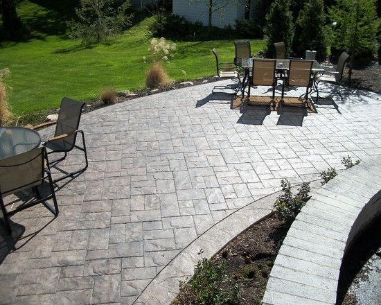 Exterior Design, Gorgeous Traditional Stamped Concrete Patios With Outdoor  Dining Furniture Set Also Lovely Green