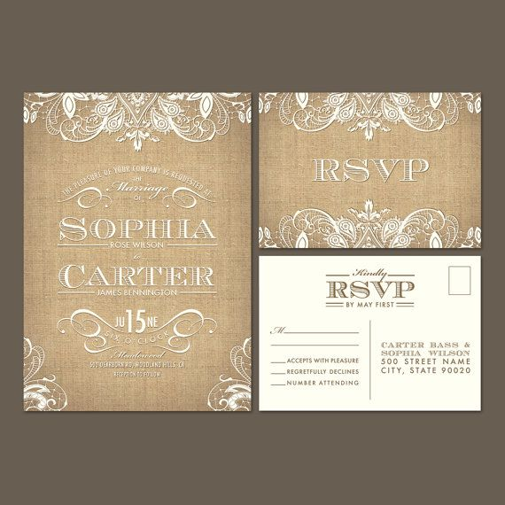 Printed Burlap Lace Wedding Invitations RSVP by AgapeInvitations