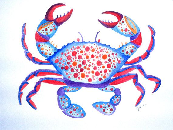 Crab Watercolor Original Painting Blue Crab Wall Decor by Jaschlos