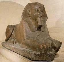 El titulo: La Gran Esfinge del siglo XXVI a. C.,   Autor: desconocido Material: granito
