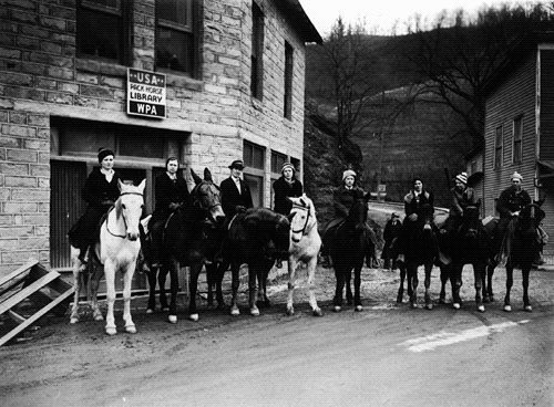 Women in the Appalachian mountains on horseback delivering books and reading to those who could not as a feature of the Works Progress Administration (WPA) of the 1930's.