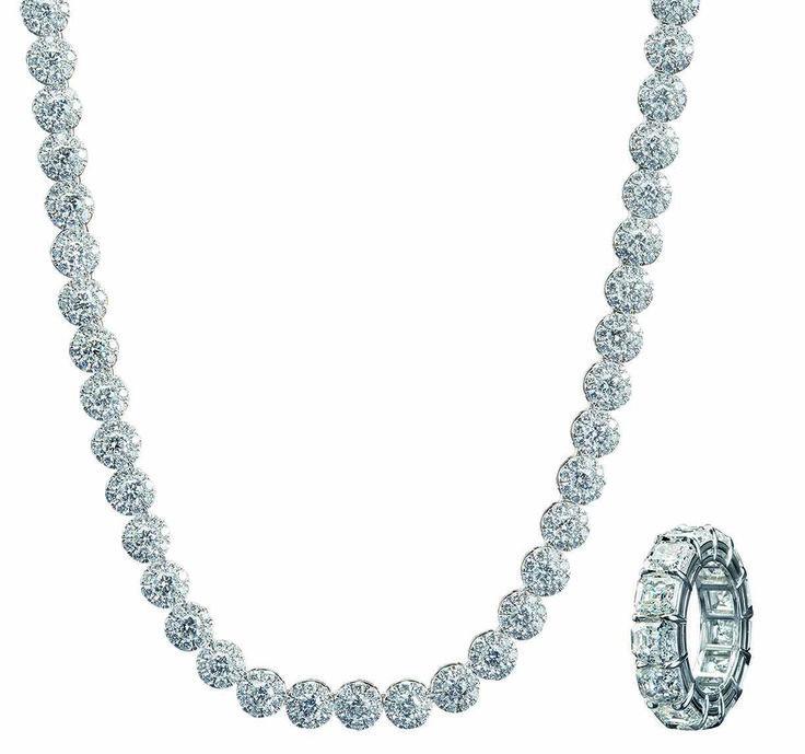 #JoyasPeyrelongue Collar con diamantes redondos en oro blanco de 18 kt. Anillo con diamantes en oro blanco de 18 kt.