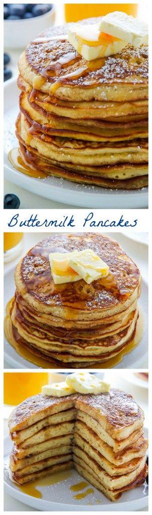 My favorite recipe for fluffy homemade buttermilk pancakes! SO EASY.