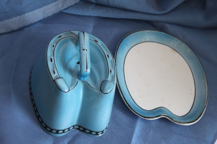 Blue Horseshoe Shaped Covered Butter Dish. Midcentury Modern. Lucky Vintage Theme/Something Blue. by AtticBazaar on Etsy