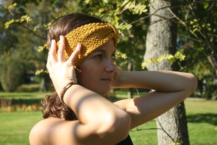 Hand knitted ladies headband- Mustard