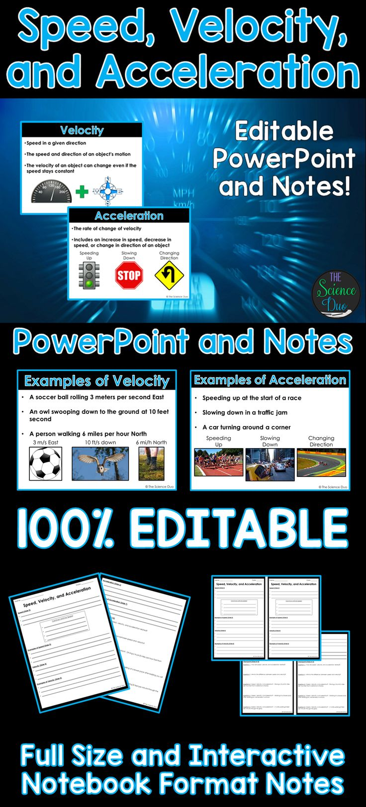 Introduce the basics of Speed, Velocity, and Acceleration with this PowerPoint presentation. This resource covers all the basics of speed, velocity, and acceleration with examples of each and student notes pages.