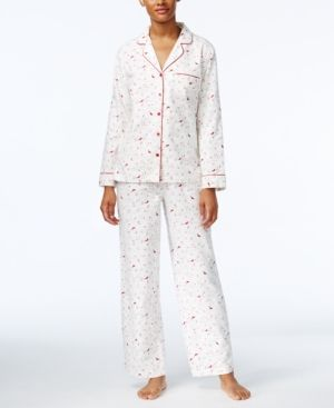Charter Club Petite Flannel Pajama Set, Only at Macy's - White P/S
