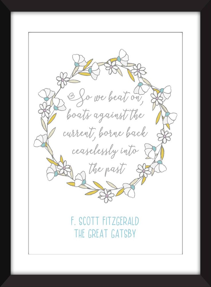 F. Scott Fitzgerald Boats Quote from The Great Gatsby Unframed Print by TheWordAssociation on Etsy