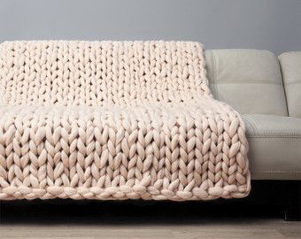 Super Chunky Blanket. Giant Knitted Merino Wool Throw. by woolWow