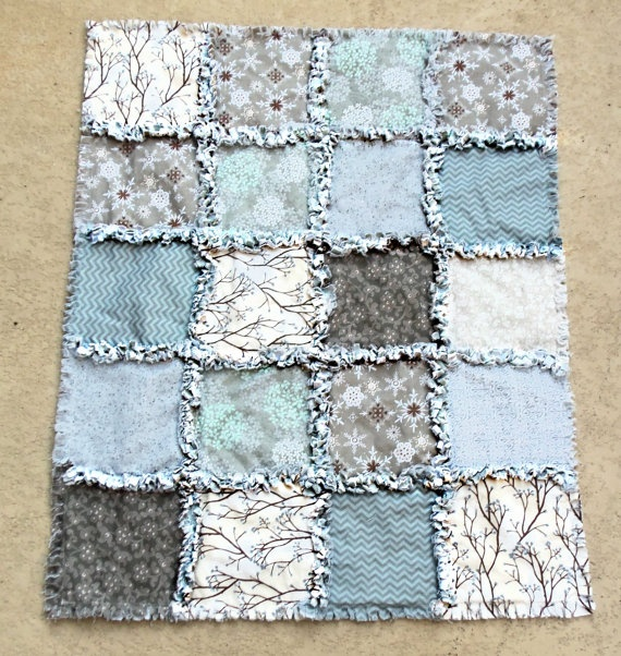 Beautiful blues boy rag quilt - love these fabrics